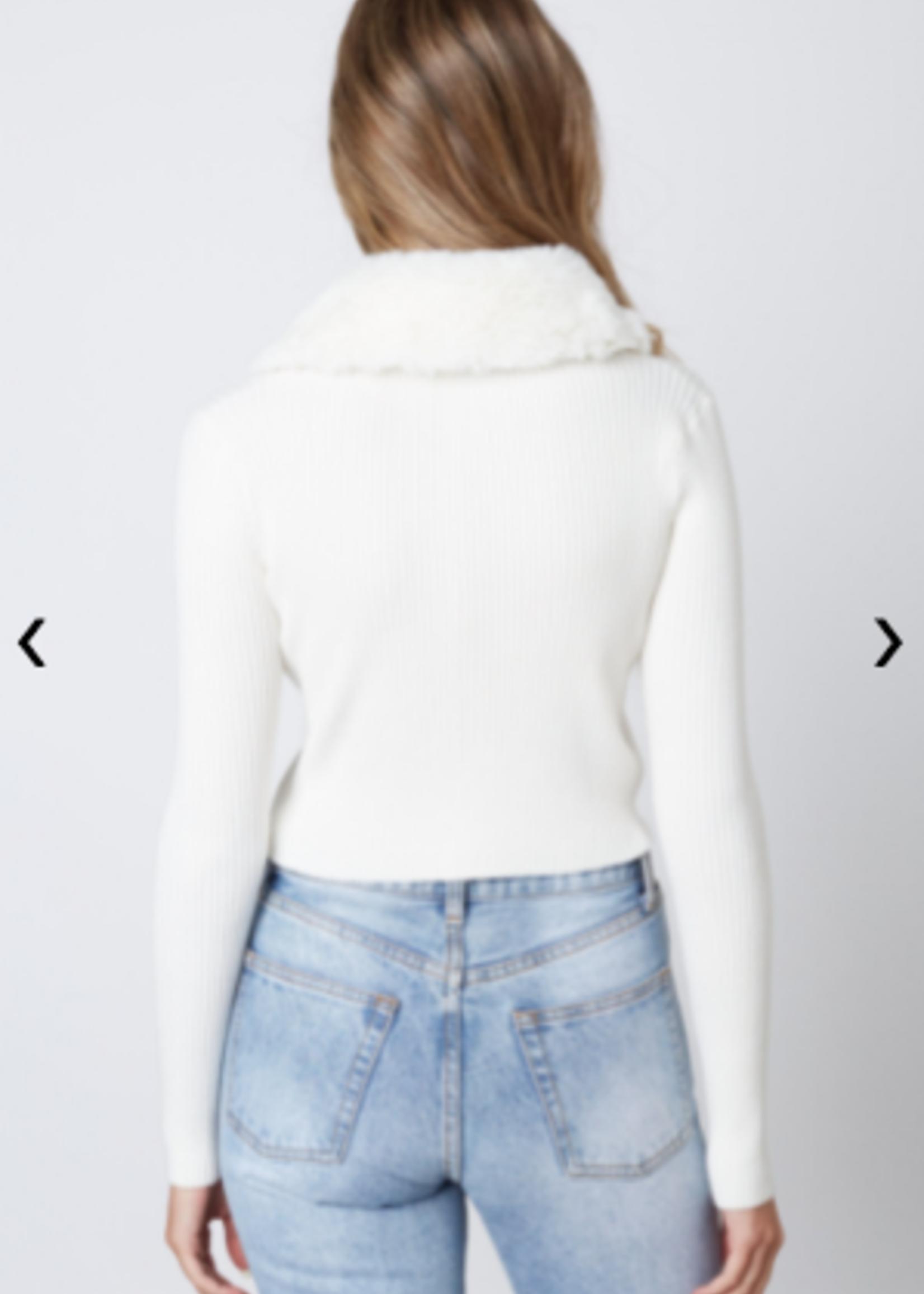 Furry Winter White Sweater