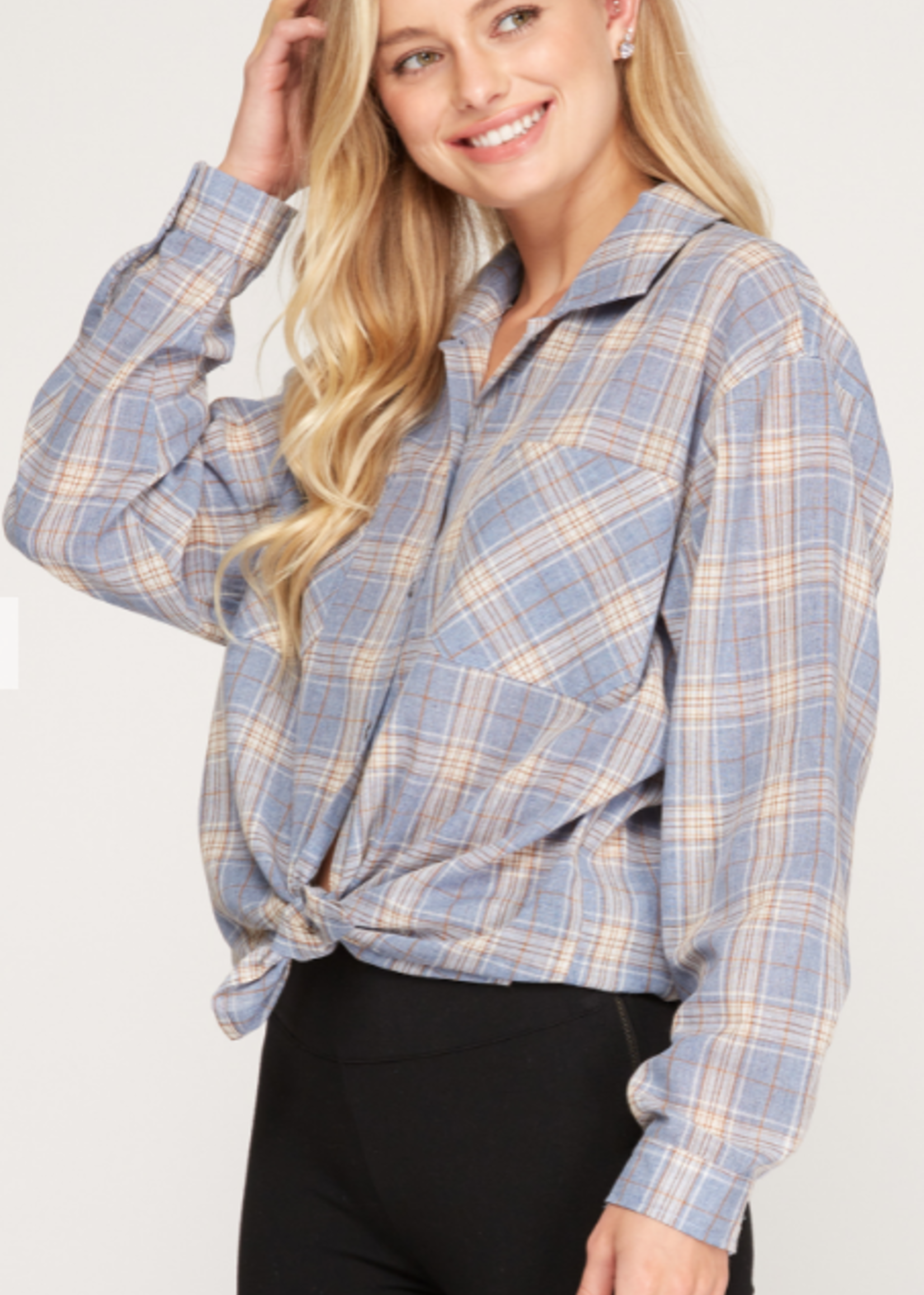 Right Away Blue Plaid Top