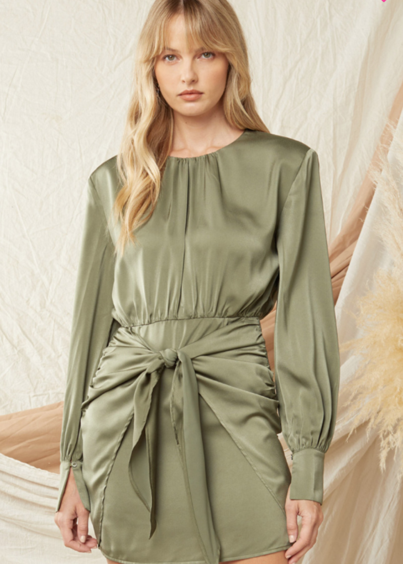 Fall In Love Satin Tie Front Dress (2 Color)