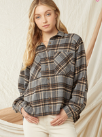 Fall Plaid Flannel Button Front Top (2 Colors)