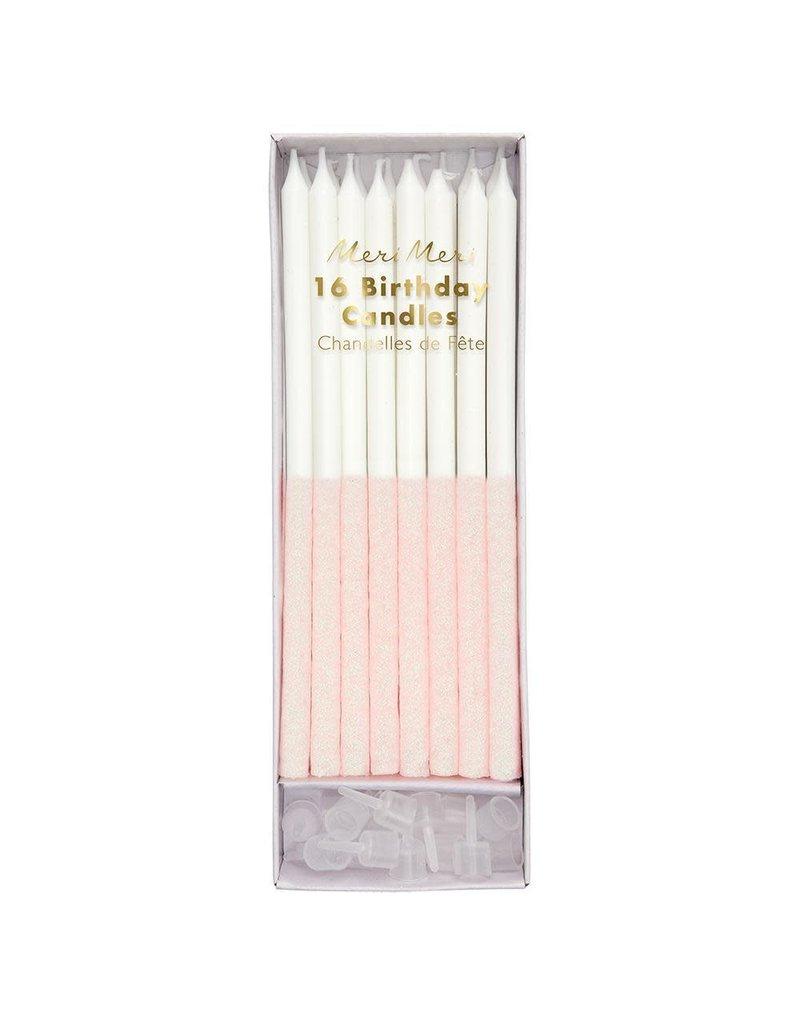 Meri Meri Blush Pink Glitter Dipped Birthday Candles