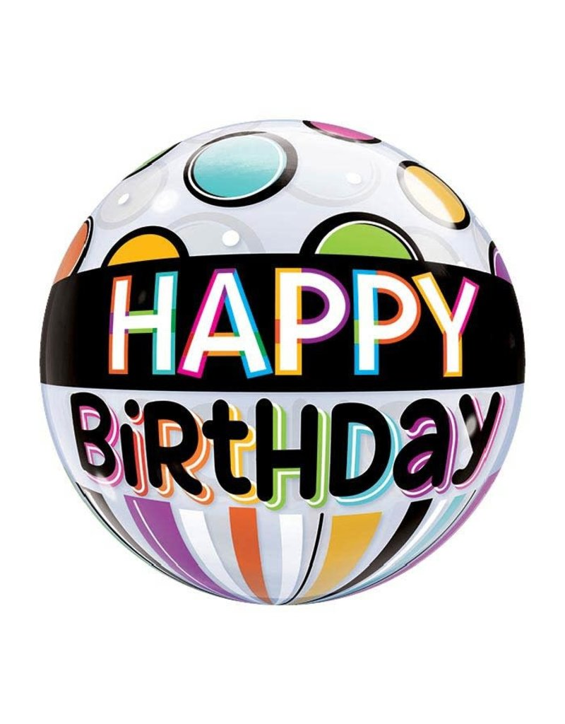 Birthday Bubble Balloon Dots and Stripes