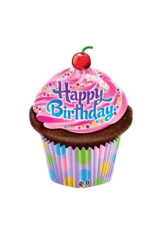 Happy BirthdayPink Frosted Cupcake Balloon