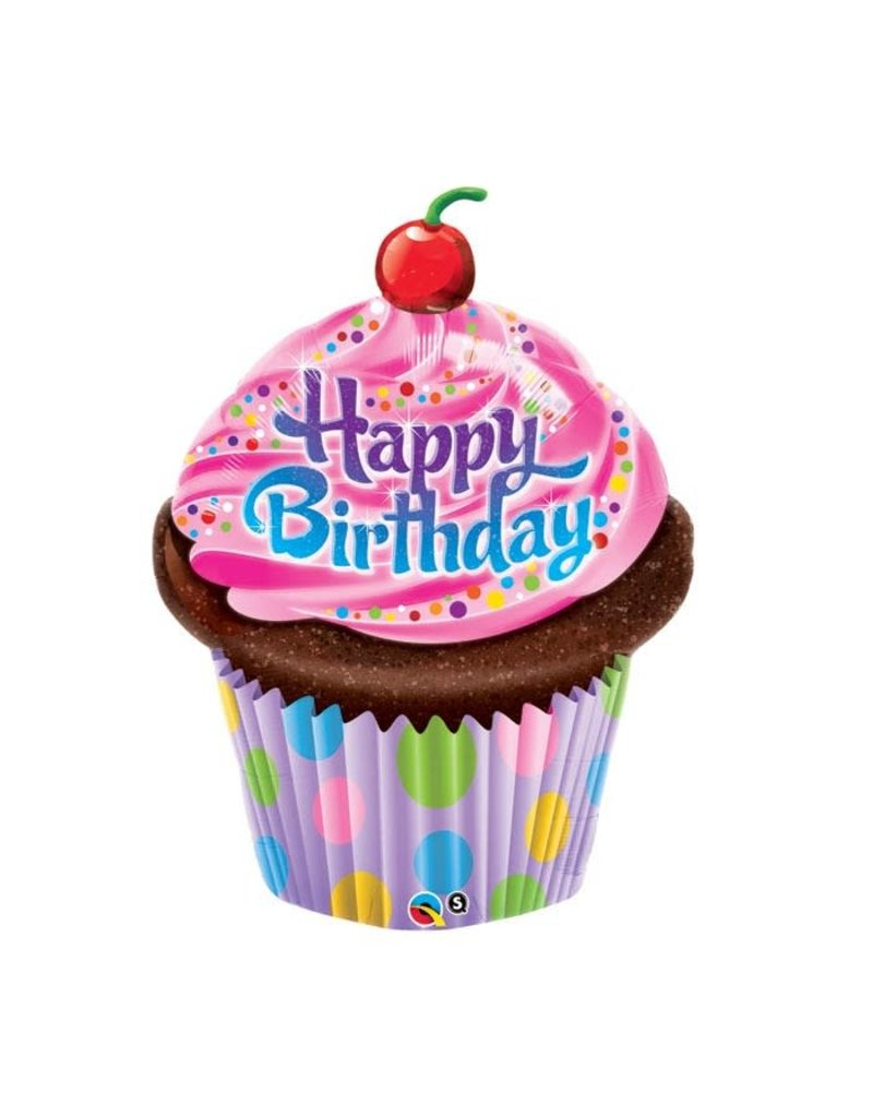 Happy Birthday Pink Frosted Cupcake Balloon
