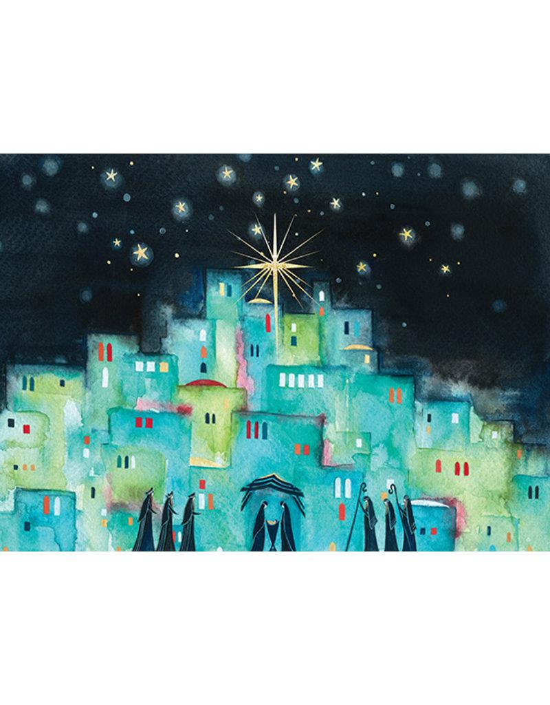 Carte Blue Village With Stars
