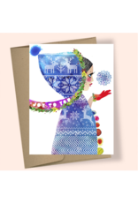 Masha Hooded Girl Snowflake Boxed Holiday Cards