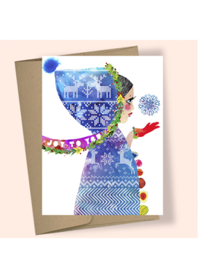 Masha Hooded Girl Snowflake Boxed Holiday Cards