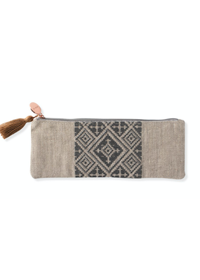 Fringe Tribal Linen Long Pouch