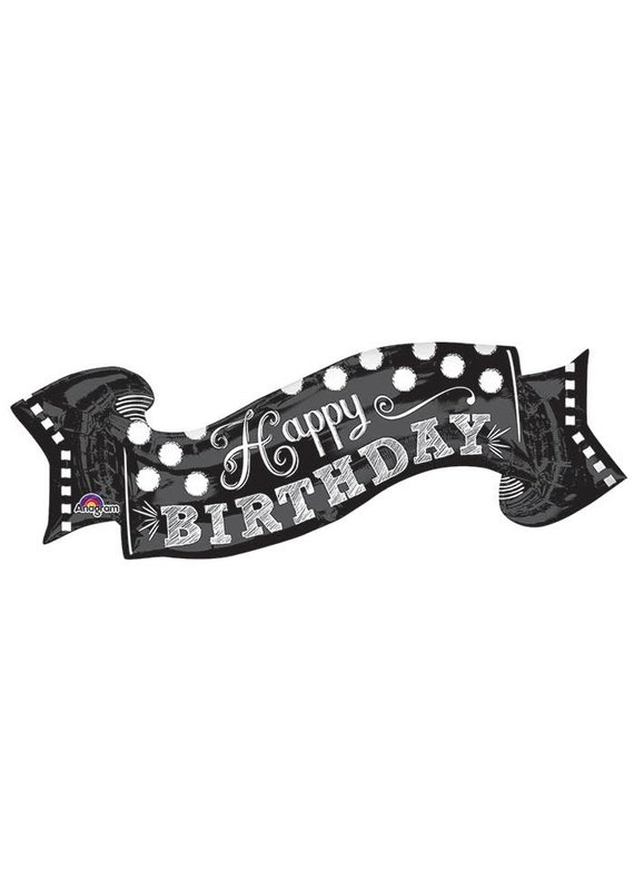 Black and White Birthday Banner Balloon