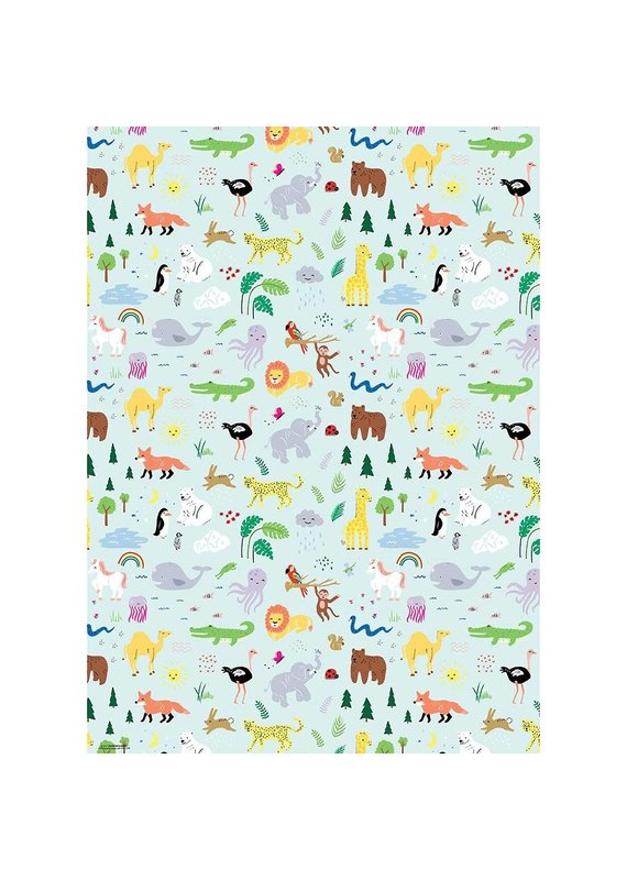 Paper Source Jungle Animals Flat Wrap Sheet