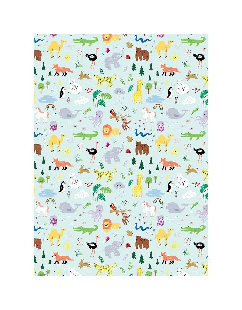 Paper Source Jungle Animals Flat Wrap Sheet