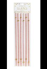 Slant Pink Glitter Wine Straws