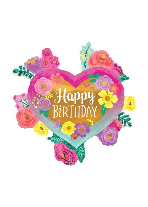 Anagram Flowers and Heart Birthday Balloon