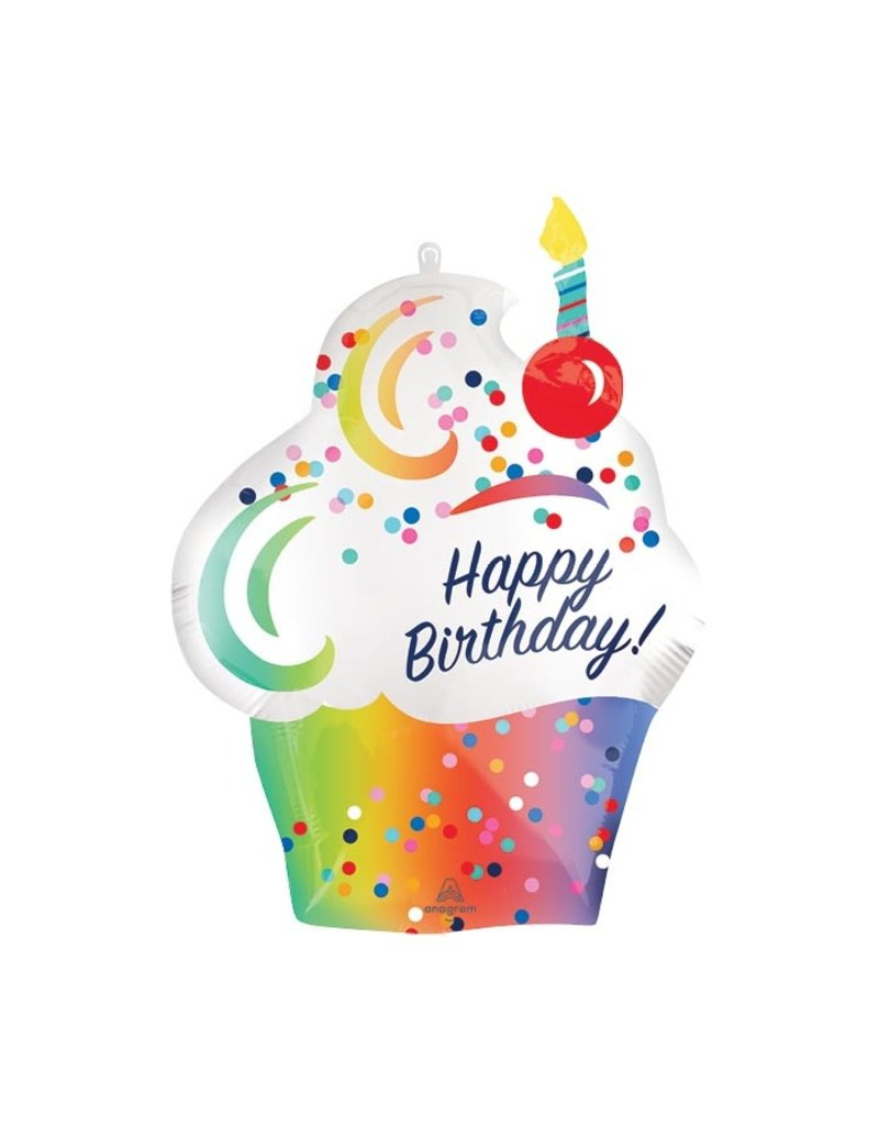Burton and Burton Happy Birthday Rainbow Cupcake Balloon with Candle