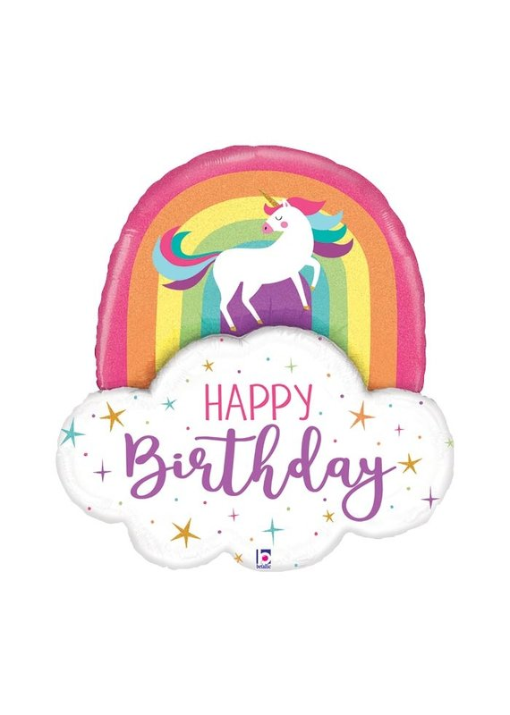 Anagram Unicorn and Rainbow Birthday Balloon