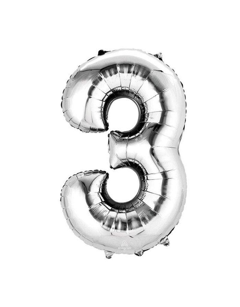 Anagram Jumbo Silver Number Balloons