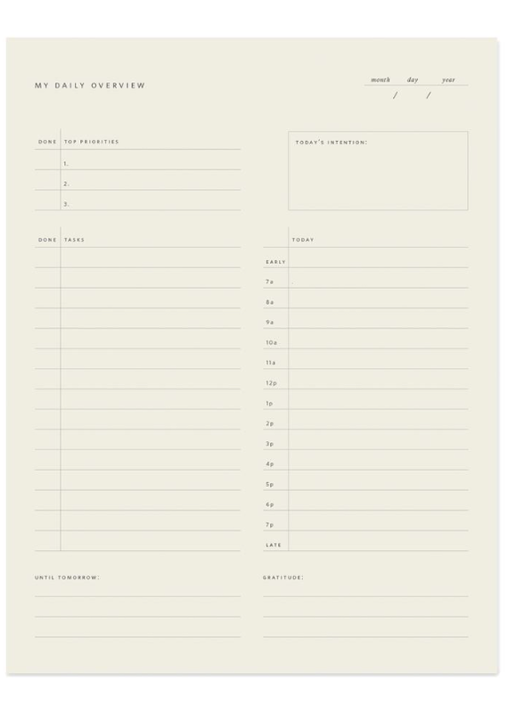 Ramona & Ruth Daily Overview Notepad