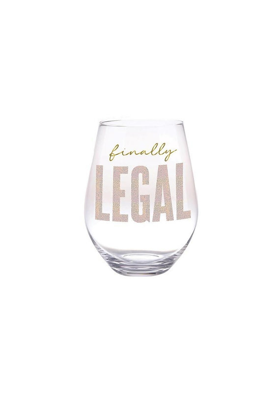 Slant Finally Legal Stemless Wine Glass