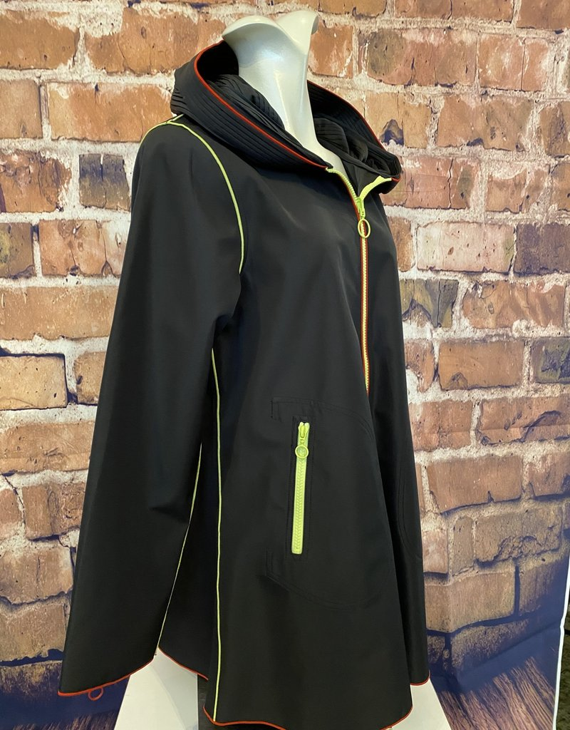 Zip Front Plated Hood Piped Jacket