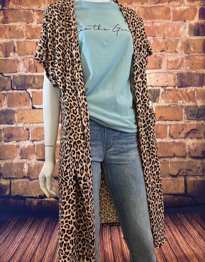 Ciao Bella Short Sleeve Leopard Cardigan