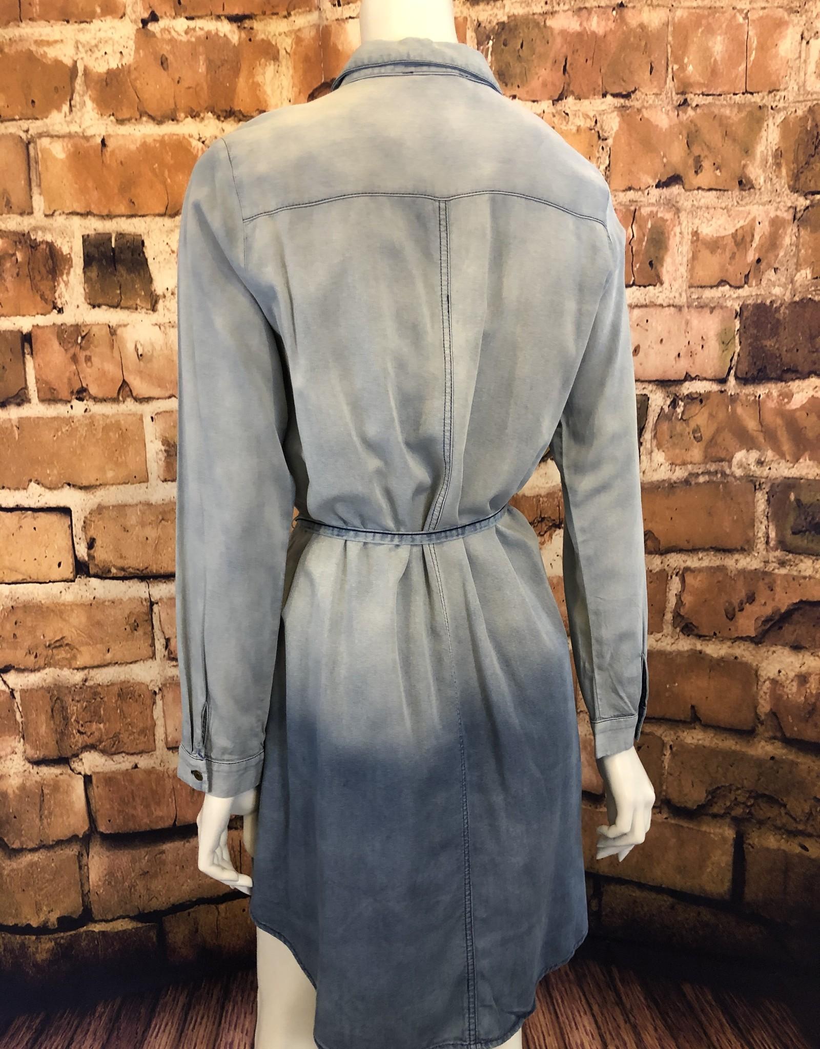 Ciao Bella Ombre Tie Waist Chambray Shirt Dress