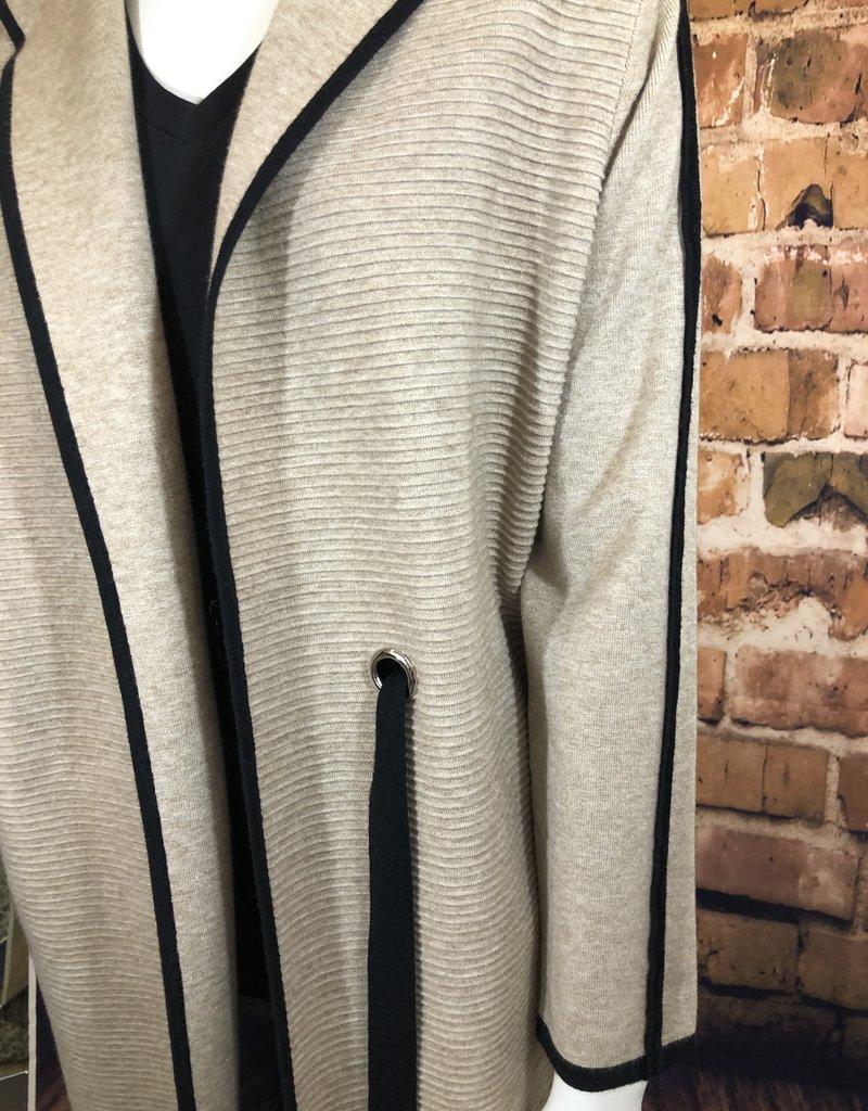 Long Ribbed Hooded Coat L/XL