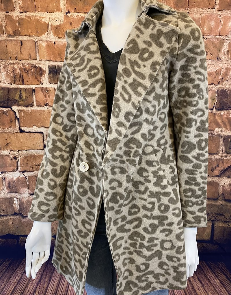 Ciao Bella Animal Print Notch Collar Car Coat Brown XS
