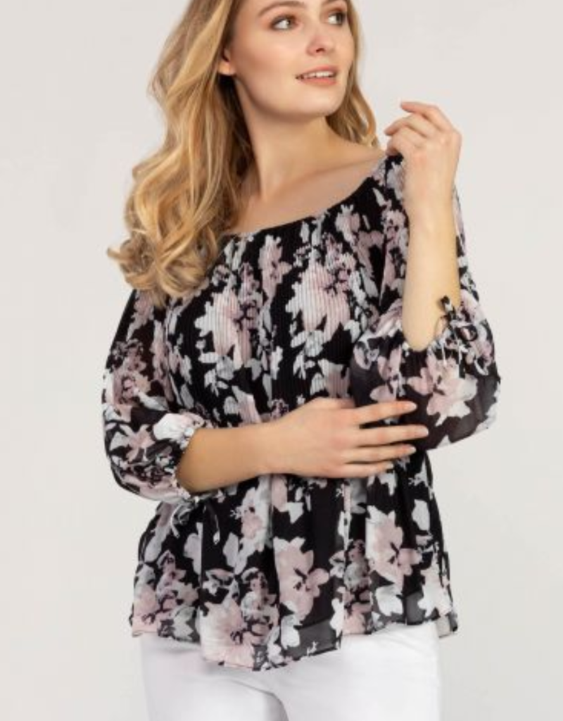 Ciao Bella On & Off Shoulder Plisse Blouse