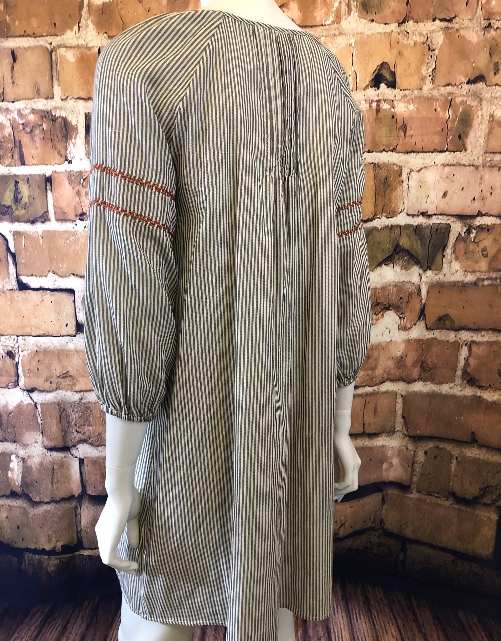 Ciao Bella Embroidered Tassel Stripe Dress