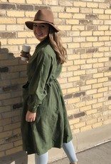 Ciao Bella Long Bomber Jacket Olive One Size