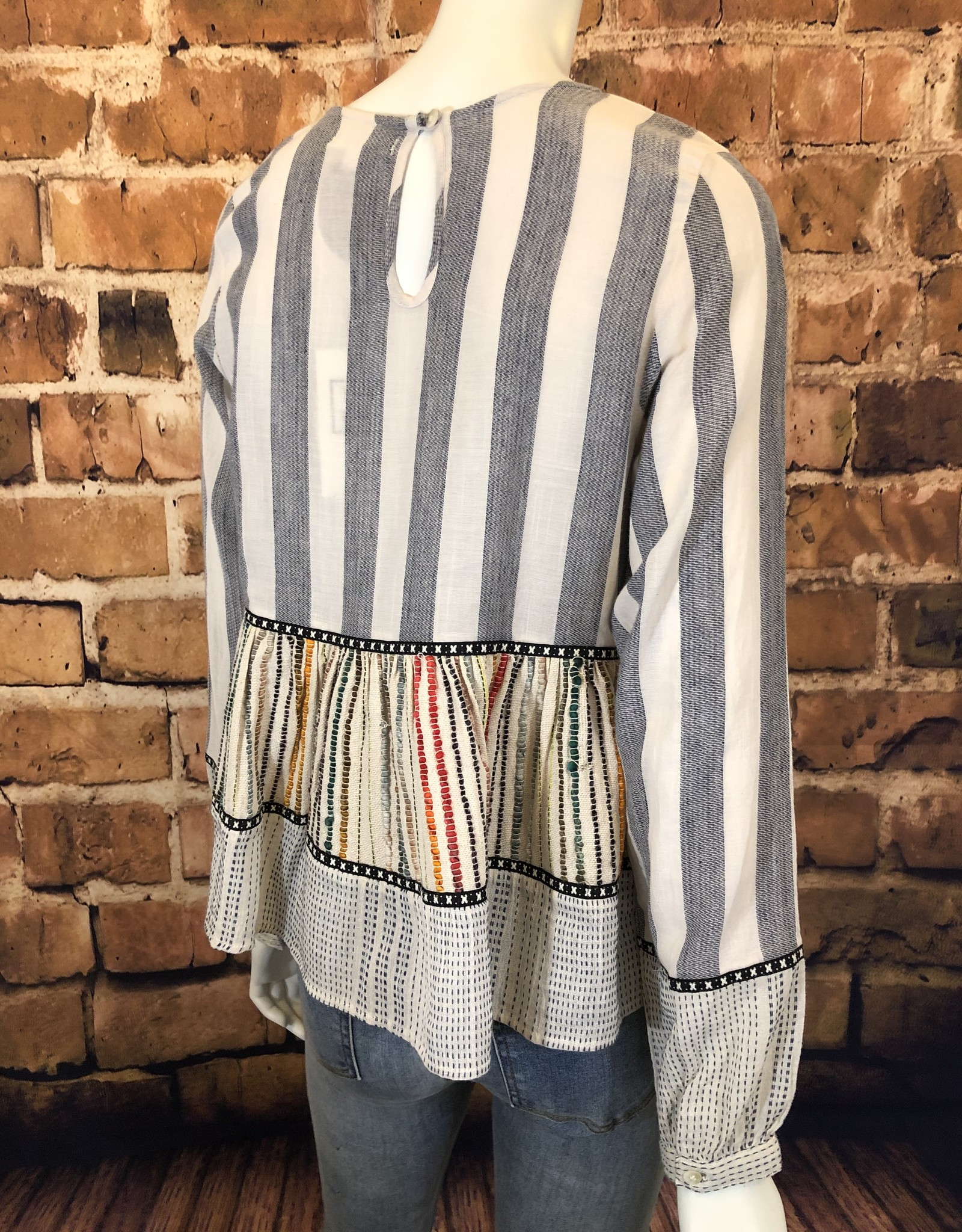 Ciao Bella Long Sleeve Stripe Tiered Top