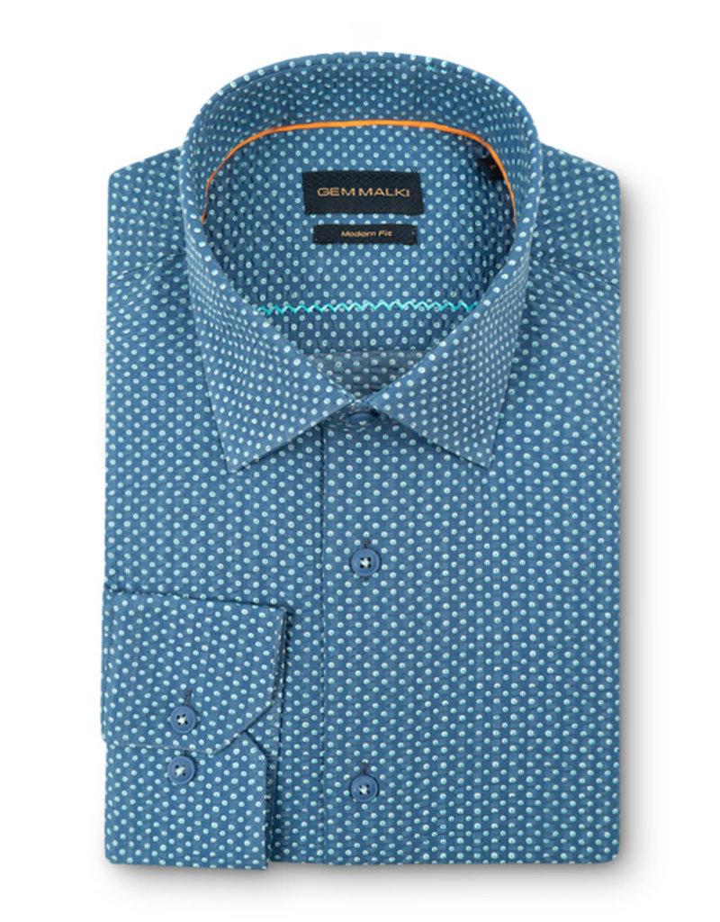 Gem Malki Men's Long Sleeve Seersucker Shirt
