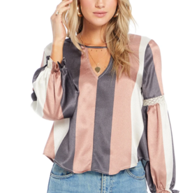 Ciao Bella Wonder Stripe Tie Back Blouse