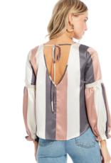 Ciao Bella Wonder Stripe Tie Back Blouse