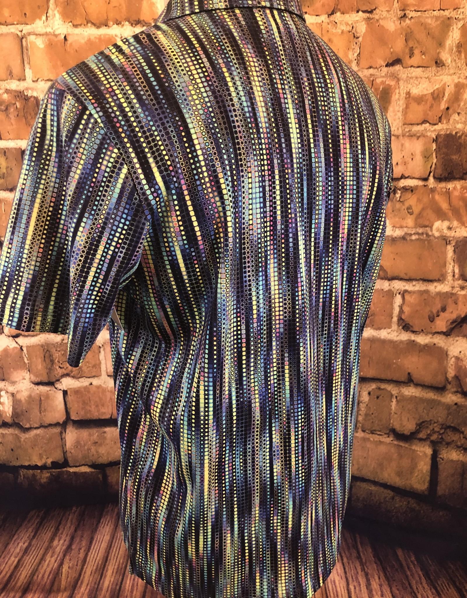 Luchiano Visconti Men's Geo Stripe Collared Shirt