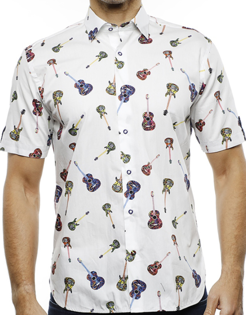 Luchiano Visconti Men's Guitar Collared Shirt