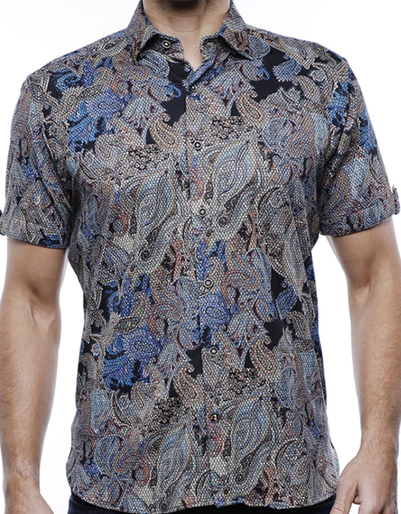 Luchiano Visconti Men's Paisley Collared Scale Shirt