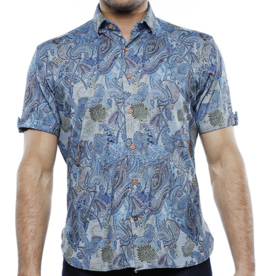 Luchiano Visconti Men's Paisley Collared Scale Shirt