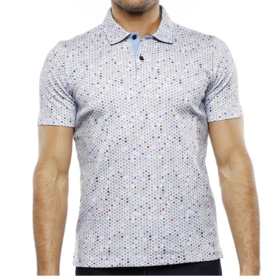 Luchiano Visconti Men's Pinwheel Collared Dot Shirt