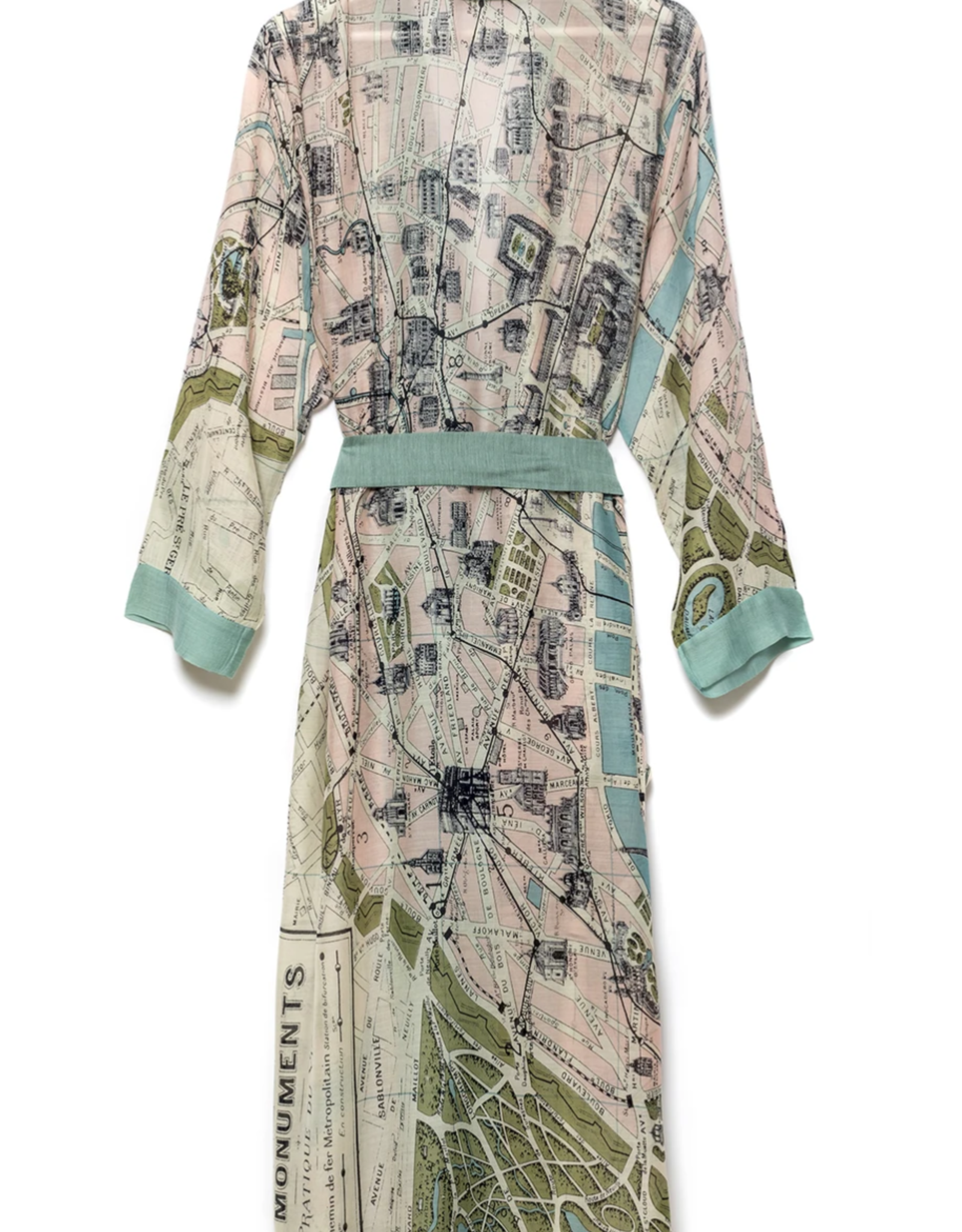 Lightweight Paris Print Robe OS