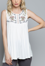 Ciao Bella Delilah Detailed Off White Tank