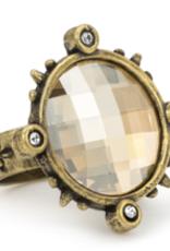 French Kande Swarovski Brass Spiked Ring