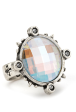 French Kande Swarovski Silver Spiked Ring
