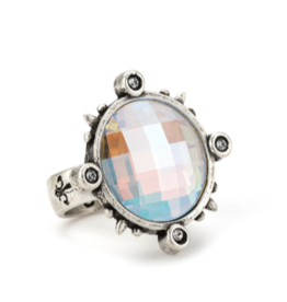 French Kande Swarovski Silver Spiked Ring
