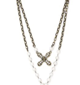 "French Kande 20"" Sword & Crown Pendent Necklace"