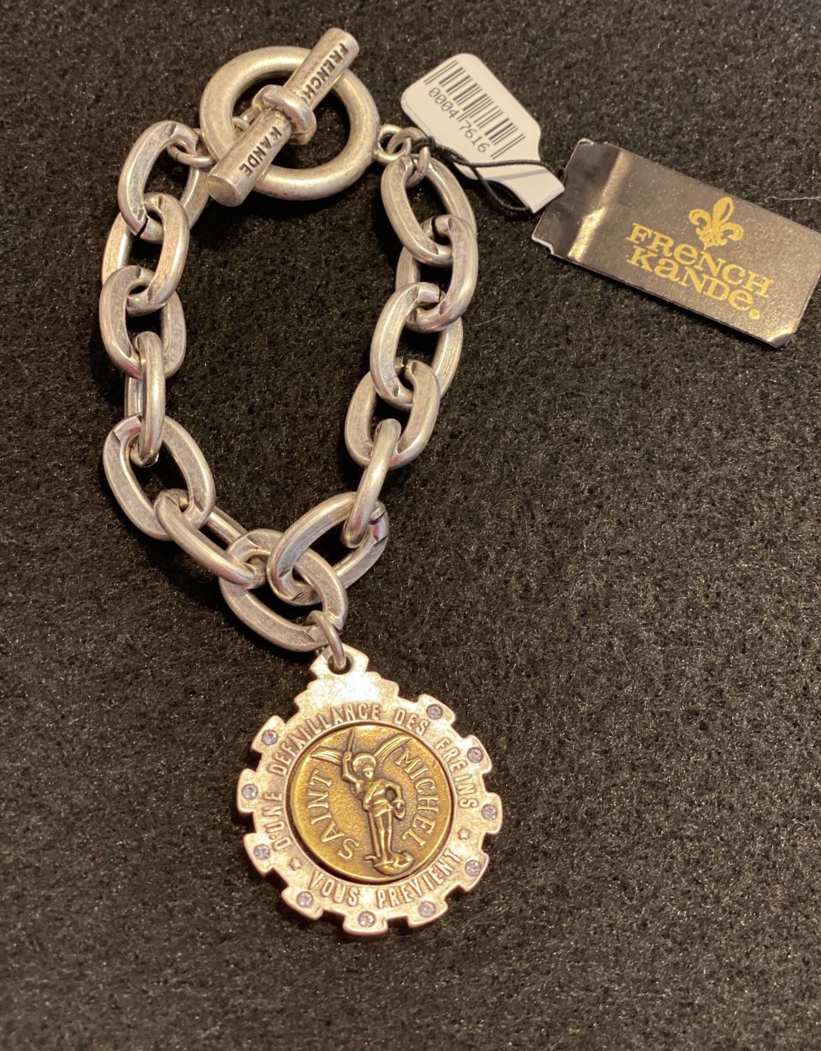 French Kande Saint Michel Medallion Chain Bracelet