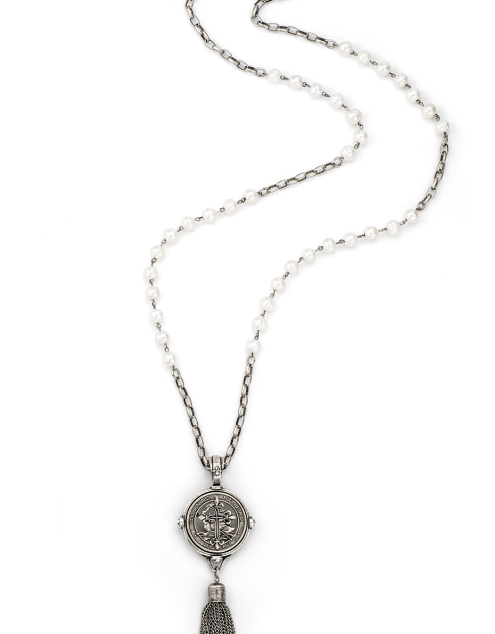 French Kande Freshwater Pearl Pineau Cross Medallion Tassle