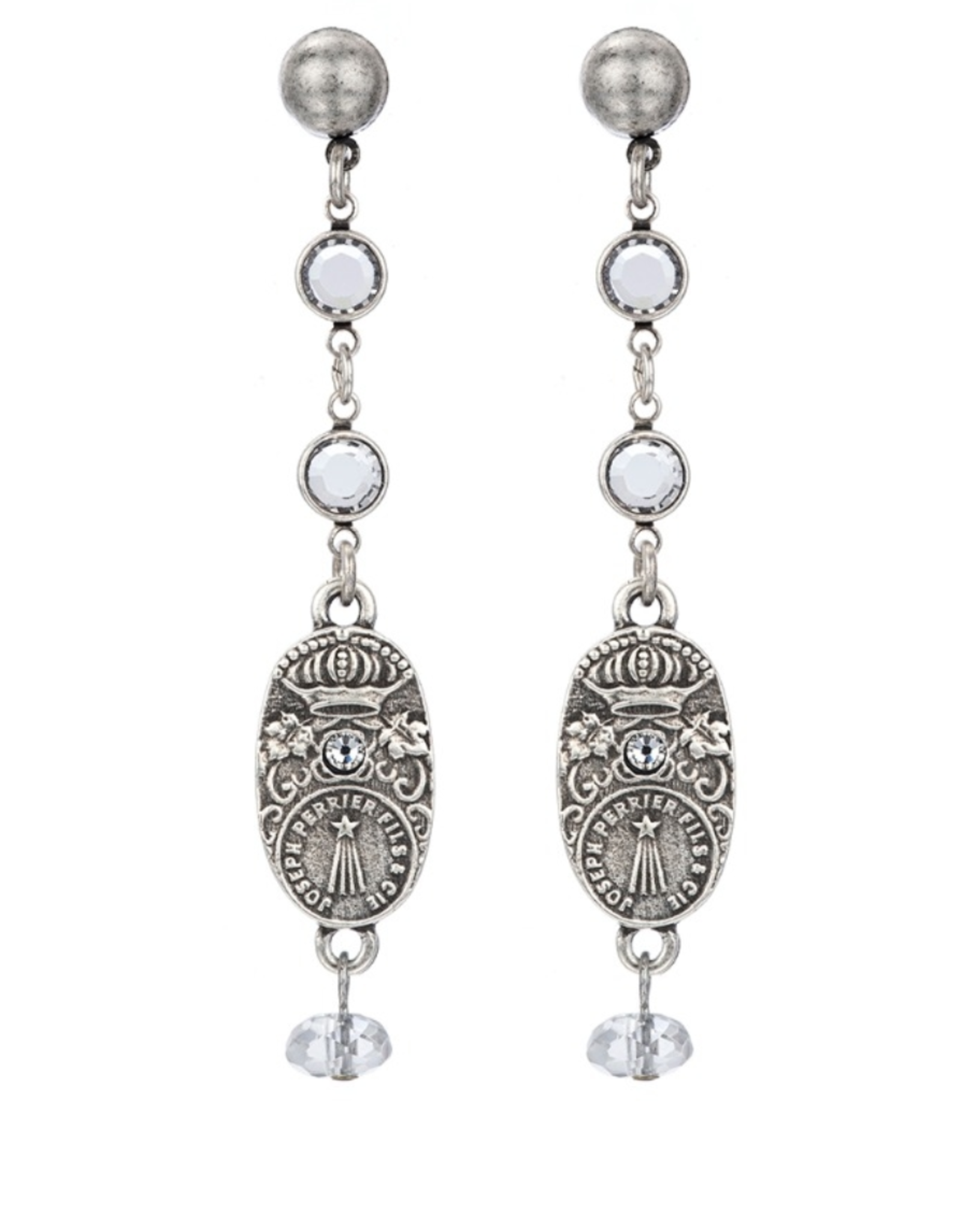 French Kande Crystal Chanel Swarovski Drop Earring