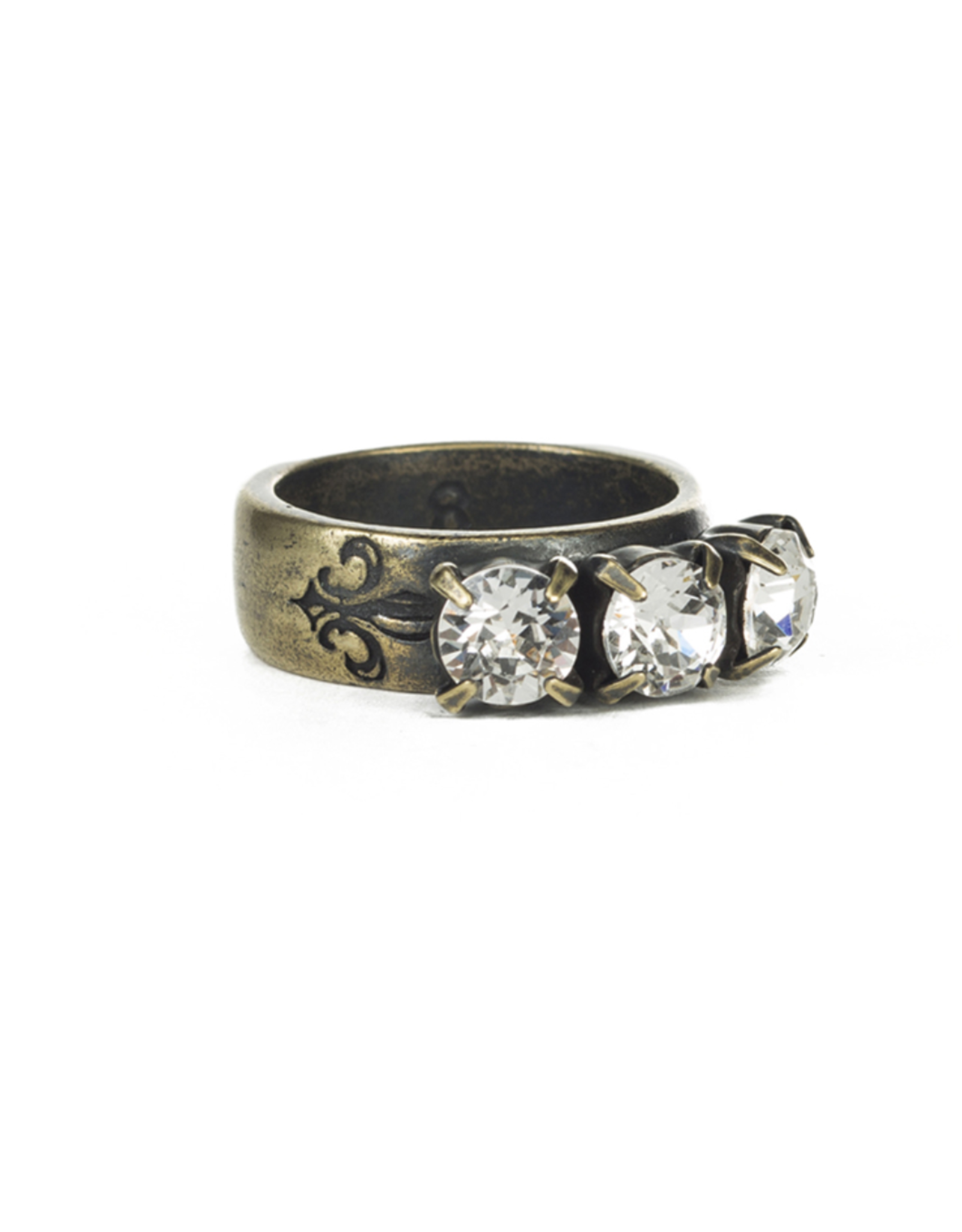French Kande Triple Swarovski Crystal Ring