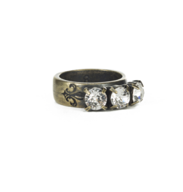 French Kande Triple Swarovski Crystal Ring